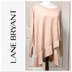 Lane Bryant Pink Faux Wrap Look Cozy Sweater